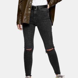 Topshop Black cutout Jamie Jeans